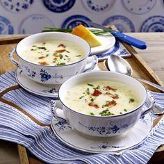 Cremige Käse-Sellerie-Suppe mit Schinkenchips Rezept