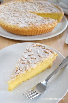 Grandmother& cake perfect recipe with weaving of the pastry on the edge - amazing custard and pinenut tart recipe