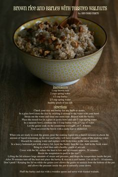 {recipe} brown rice and barley with toasted walnuts. yum!! #nourish