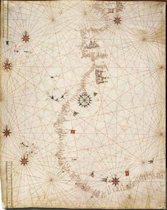 English: Portolan chart by anonymous Portuguese cartographer, held (CGA5C) by Biblioteca Estense, Modena. This is the oldest Portuguese nautical chart in existence. Estimated date c.1471, shortly after the voyage of Pêro Escobar and João de Santarém (c.1470) to the Gulf of Guinea, and definitely before 1482.