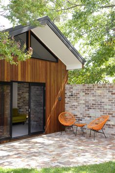 modern brick patio