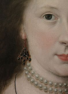 Jewelry detail of Lady Elizabeth Pope, by Robert Peake, circa 1615