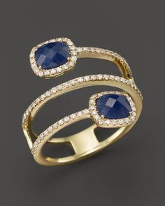 Meira T 14K Yellow Gold Blue Sapphire Triple Row Ring with Diamonds