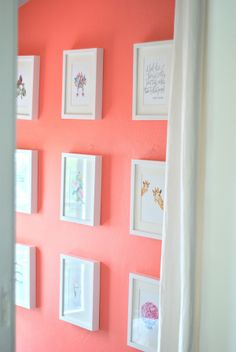 """luxe + lillies paint color: benjamin moore """"coral gables"""" for an accent wall (powder room, laundry room?) coral gabl, coral painted walls, coral wall paint, coral paint benjamin moore, laundry room paint colors, coral paint color, coral room color, lilli paint, accent wall"""