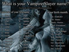Lethal Death-dealer Vampire slayer name generator<<<Deadly butcher New Names, Cool Names, Badass Names, Vampire Diaries, Name Maker, Unicorn Names, Mermaid Names, Fantasy Names, Funny Names