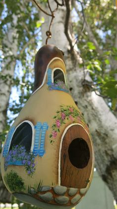 Painted cottage gourd birdhouse antique mum with by MyPaintedSwan