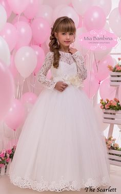 77e664e46d5 Lace Flower Girl Dress Long sleeve First by MiaBambinaBoutique Flower Girl  Dresses