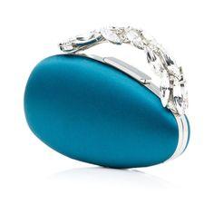Manolo Blahnik - NADI   $1925.00  Blue satin egg shaped clutch bag with Swarovski crystal handle. Upper: 100% silk satin. Lining: 100% nappa leather. Buckle: Swarovski crystal. Made in Italy. H: 15.8cm L: 17cm W: 7.3cm. Straps measure 37cm and 110cm.  - https://www.manoloblahnik.com/us/products/nadi-11207072