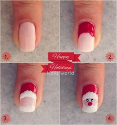 See new nail art collection on Christmas Eve. You can find plenty of ideas and nail art design inspirations. See Santa Claus nail art, Snowflake nail tutorial, Candy nail tutorial and much more here. Nail Art Diy, Diy Nails, Cute Nails, Pretty Nails, Santa Nails, Xmas Nails, Christmas Nails, Diy Christmas, Merry Christmas