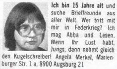 A young Angela Merkel hits the lonely hearts. She may have to go again.