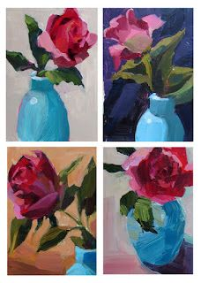 deep pink rose in an aqua vase....A Painting a Day by Patti Mollica