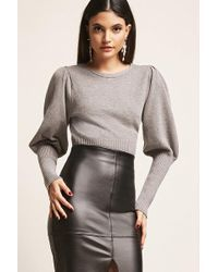 46ac4231cb07 Lyst - Women s Forever 21 Ribbed Balloon-sleeve Sweater