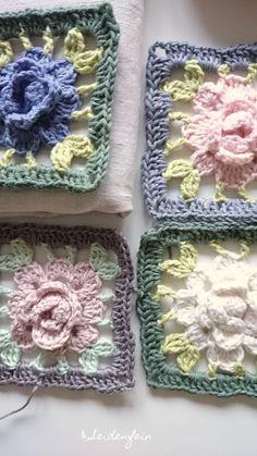 seidenfeins Blog vom schönen Landleben: Rosengranny als Tutorial * Granny with a crochet rose - Tutorial