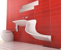 Modern Powder Room with Standard height, Signature Hardware SIEWART LINEAR SHOWER DRAIN, Bidet, stone tile floors