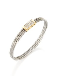 Two Tone Rectangular Station Bangle By Charriol At Gilt