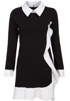 Buy Black White Long Sleeve Ruffle Dress At Abaday - #Discount via #Coupon and #Promo #Codes