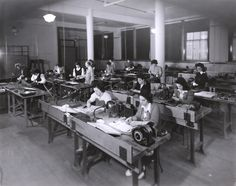 """During World War II women responded with a variety of volunteer activities at home. Mechanics Institute took part in this mobilization with a majority of courses geared towards war production. In 1942 the school opened all programs to women and launched an intensive recruitment campaign. At the height of the war the percentage of women attending the institute reached 73%, up from 30% before the war."" Ca. 1940's."
