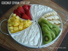 Coconut Cream Fruit Dip. Cream cheese, cream of coconut, Cool Whip, fruit and graham crackers #Dips
