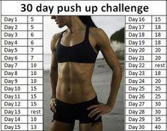 30 Day Push Up Challenge.  Gradually builds up # of push ups! @Jenni Ochsner