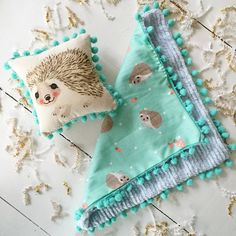 Live Sweet Mint Hamilton Hedgehog Pom Pom Blankie - Live Sweet Shop
