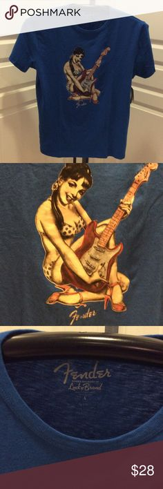 Lucky Brand Fender T-Shirt /New LB men's Fender Guitar graphic print T-Shirt. Wear this eye-catching tee designed for Fender in 100% Cotton Lucky Brand Shirts Tees - Short Sleeve