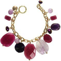 ROX by Alexa Pink & Purple Mixed Gemstone Bracelet (€46) ❤ liked on Polyvore featuring jewelry, bracelets, purple jewelry, gemstone jewellery, pink bangles, purple jewellery and purple bangles