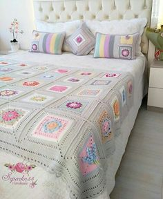 Best 12 You'll Love These Knitting Ideas Granny Square Crochet Pattern, Crochet Squares, Crochet Blanket Patterns, Crochet Granny, Baby Blanket Crochet, Boho Crochet, Free Crochet, Crochet Bedspread, Crochet Quilt