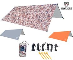 LONE WOLF 10.5' x 10.5' Lightweight Hammock Rain Fly Tent Tarp Water Proof Camping Shelter RIPSTOP Material UV Protection Sand Resistant Beach Blanket Essential Survival Gear (Desert Storm Camo). For product & price info go to:  https://all4hiking.com/products/lone-wolf-10-5-x-10-5-lightweight-hammock-rain-fly-tent-tarp-water-proof-camping-shelter-ripstop-material-uv-protection-sand-resistant-beach-blanket-essential-survival-gear-desert-storm-camo/