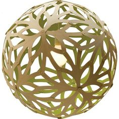 """Floral 400 Bamboo Suspension Lamp in lime OR orange 16"""" diameter for clear headroom"""