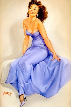 """Elegant pin-up girl in a blue gown. """"Felicity"""" by Baron Von Lind."""
