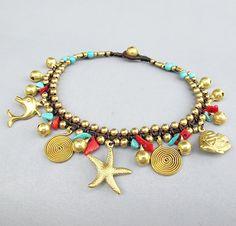 Boho Fußkette rote Koralle Türkis Stein Brass Bead von Summerwrist