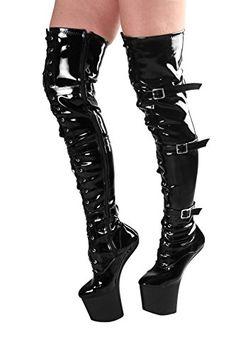 RUBY-FASHION Sexy Pony Overknee Lack Stiefel Extrem Hohe Plateau Lackstiefel High Heels Boots / Schwarz / EU 37-46 - http://on-line-kaufen.de/ruby-fashion/ruby-fashion-sexy-pony-overknee-lack-stiefel-hohe
