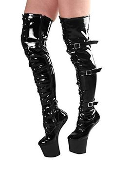 RUBY-FASHION Sexy Pony Overknee Lack Stiefel Extrem Hohe Plateau Lackstiefel High Heels Boots / Schwarz / EU 37-46 - http://on-line-kaufen.de/ruby-fashion/ruby-fashion-sexy-pony-overknee-lack-stiefel-hohe