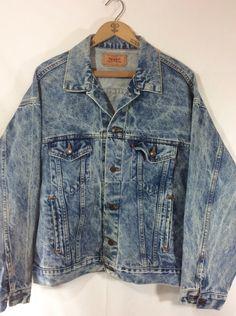 Mens Vintage Acid Wash Levis Denim Jacket size L by MysticPincushion on Etsy $40.00