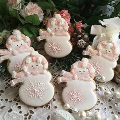Snowman snow girls gingerbread Christmas cookies