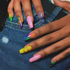 Halloween Acrylic Nails, Bling Acrylic Nails, Acrylic Nails Coffin Short, Summer Acrylic Nails, Best Acrylic Nails, Acrylic Nail Designs, Pop Art Nails, Coffin Nails, Dope Nail Designs