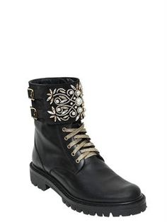 renè caovilla - women - boots - 20mm swarovski leather combat boots