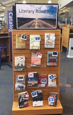 Take a Literary Road Trip with books from various US States! School Library Decor, School Library Displays, Middle School Libraries, Library Work, Teen Library, Class Library, Library Bulletin Boards, Library Table, Elementary Library