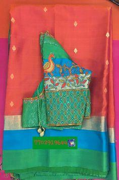 Pattu saree with maggam work 7702919644