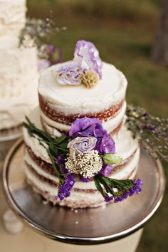 Naked wedding cake with purple flowers | Amila Photography