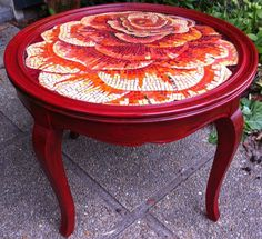 Image result for mosaic rose on round table