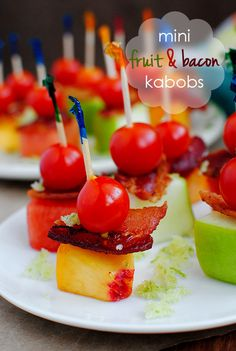 Mini Fruit and Bacon Kabobs with Sugared Lime Zest #superbowl| Iowa Girl Eats