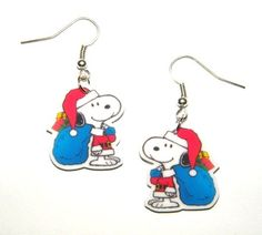 Snoopy Dangle Earrings Christmas Peanuts Snoopy Santa by Murals4U, $7.99