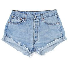 Original 501s [W31] ($85) ❤ liked on Polyvore featuring shorts, bottoms, ripped denim shorts, denim cut-off shorts, ripped shorts, distressed denim shorts and cut off shorts