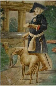 Frederick the Great + Greyhounds.  (Fritz was in fact obsessed with Italian Greyhounds.  This painter had no sense of scale -- these dogs are much too big.  Frederick took his IGs to war with him.  He decided towards the end of his life that he preferred them to humans, and asked to be buried with them.)