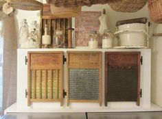 Antique washboards as cupboard doors.  Loooove it!!!!!