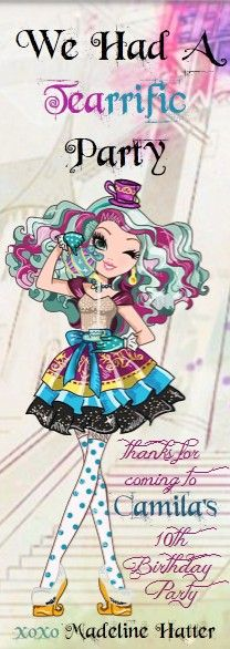 Ever After High Thank You Notes Birthday - front side - Bookmarks - 6.125x2.125 White 120# Coated Cover (14 pt C2S) krimekote - copied on 2 sides