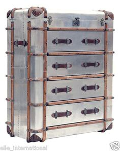Chest of Drawers Aluminum Airplane Trunk Riveted Wood Skids Leather Handle Fship | eBay
