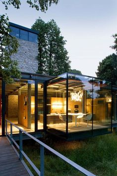 Jodlowa House Stunning House with Fully Glazed Steel Frame Structure: the Jodlowa House by PCKO