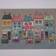 My newest design & # Petite Street & # from Sewn by Collette. House Quilt Patterns, Applique Patterns, Applique Quilts, Embroidery Applique, Freehand Machine Embroidery, Free Motion Embroidery, Small Quilts, Mini Quilts, Fabric Art